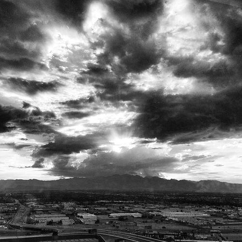 Storm Clouds Stormclouds Settingsun Clouds Sun Beaminglight Sunset Mountains Blackandwhite Storm Scary LV Nevada Hills Lasvegas