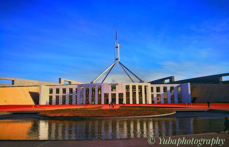 Architecture Water Outdoors Sky Government Building Parliament House Canberra City Australia Austrianphotographers Australia❤️ Canberra Parliament House Wow_australia The Architect - 2017 EyeEm Awards The Architect - 2018 EyeEm Awards