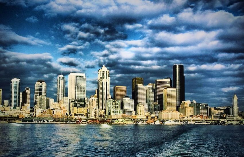 Seattle Washington, as seen from crossing the Puget Sound via the Bainbridge-to-Seattle ferry run Seattle Washington State Pacific Northwest  Pugetsound Skyline HDR Puget Sound, Washington