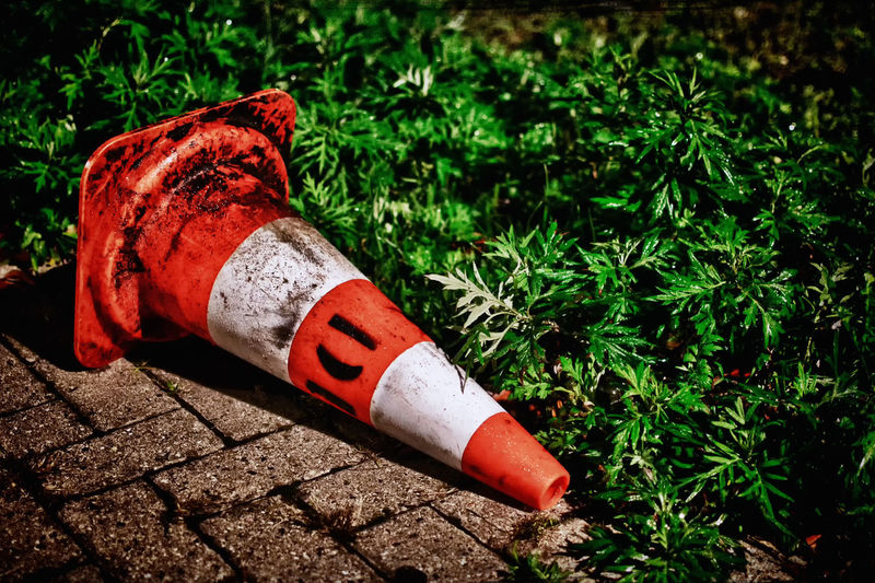 Colorful Cone Garden Photography Garden Vs Concrete Grass Nature Vs City Nature Vs Concrete Nature Vs Human Nature Vs Humanity Nature VS Man Nature Vs Manmade Night Photography White Orange Cone Work