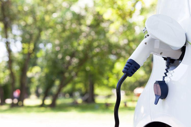 Close-up of fuel pump in car