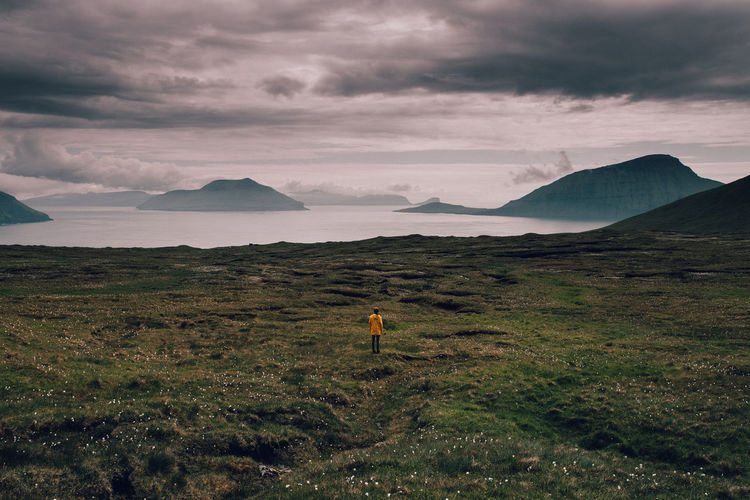 Adult Adults Only Beauty In Nature Cloud - Sky Day Distant Faroe Islands Faroeislands Full Length Färöer Landscape Mountain Nature Neon Colored One Man Only One Person Only Men Outdoors People Sky Sunset