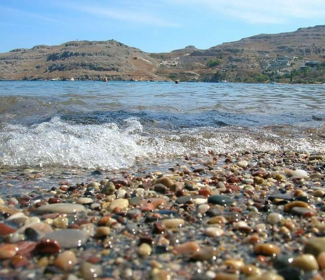 Rodi Grecia Sea Waves Stones Water Mountains Summer Memories 🌄