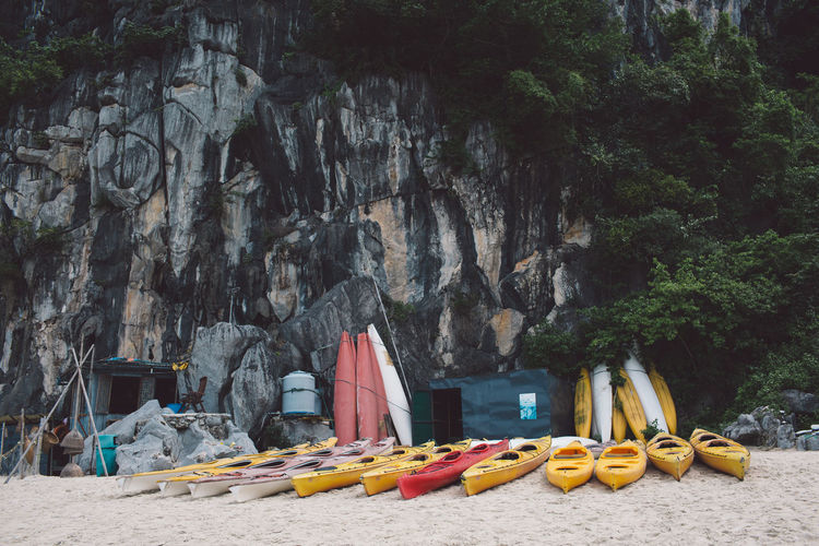 Vietnam Day Food Food And Drink Fruit Ha Long Bay Healthy Eating Kayak Land Multi Colored Nature Nautical Vessel No People Outdoors Plant Rock Rock - Object Rock Formation Solid Tree Water Yellow
