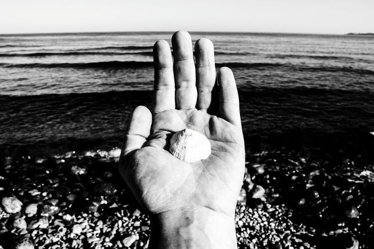 Human Body Part Human Hand Sea One Person Beach One Man Only Horizon Over Water Blackandwhite Monochrome Photography El Campello Travel Destinations Blackandwhite Photography Horizon Over Sea Tranquility Sunlight Scenics Peaceful Place Water Clear Sky Handmade By Me Clams❤ Clams To Eat Artistic Photography Artistic Expression Posing ✌