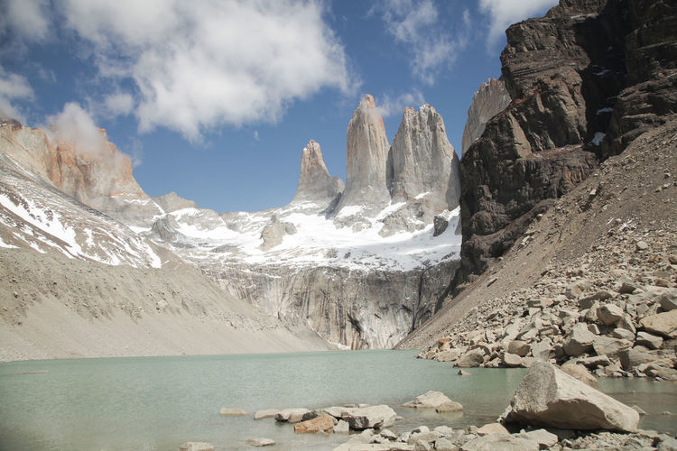 Idyllic Shot Of Rocky Mountains Against Sky At Torres Del Paine National Park