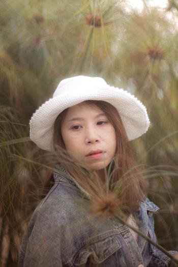 Portrait of a girl wearing hat