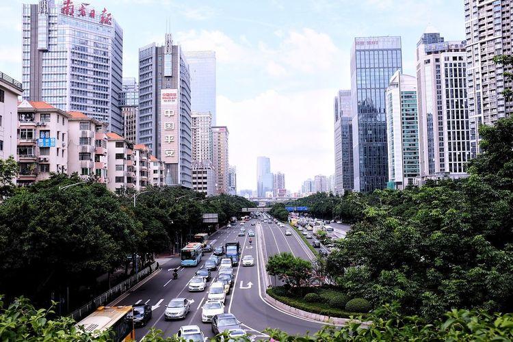 Guangzhou,China Yuexiu Park, Guangzhou Buldings Road Sky Skyscraper Traffic Traffic Jam City Modern City