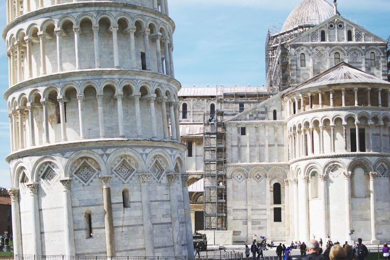 Tower close-up. Architecture Building Exterior Built Structure Cultures Travel Destinations Tourism Travel Arch City History Outdoors Sky Religion Day Place Of Worship No People Pisa Piazza Dei Miracoli Leaning Tower Of Pisa