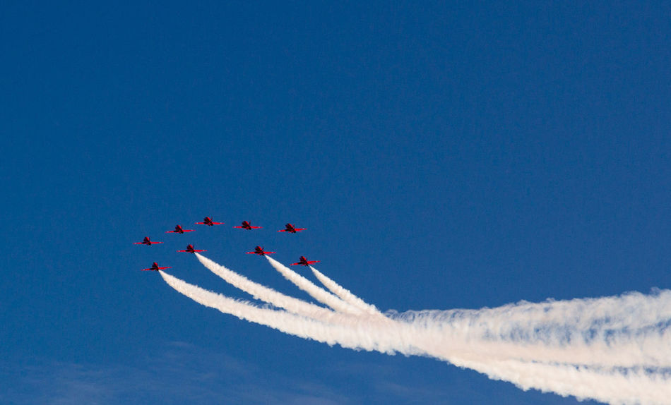 Adventure Air Festival Airplane Airshow Blue Day Enjoyment Fighter Plane Flying Freedom Fun Low Angle View Mid-air Motion Multi Colored Outdoors Plane Planes Red Arrows Red Arrows Air Display Skill  Sky Smoke Smoke Trail Teamwork
