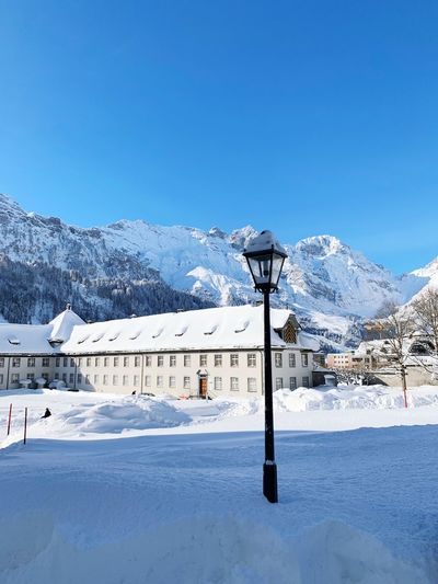 Morning snow Engelberg Switzerland Snow Winter Cold Temperature Sky Mountain Nature Clear Sky Beauty In Nature Scenics - Nature No People Street Light Snowcapped Mountain Outdoors