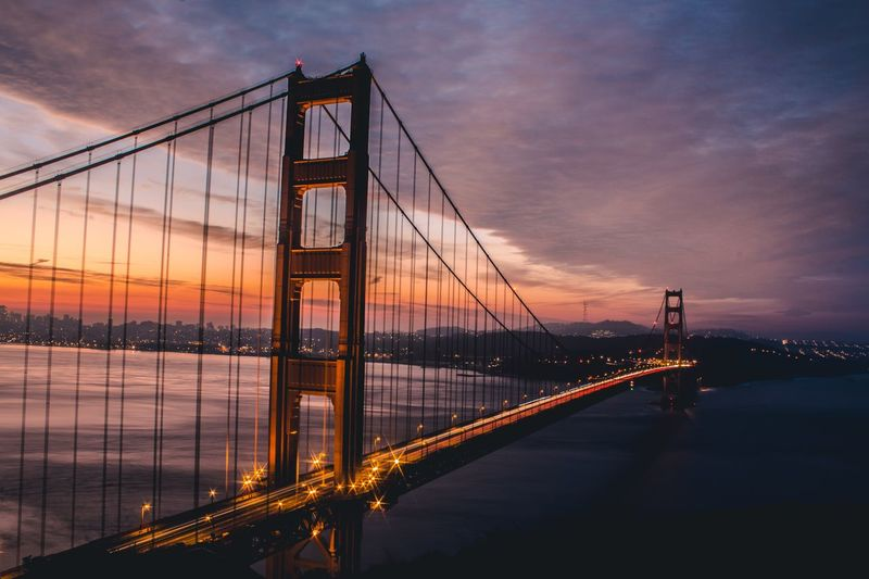 Vibes from sunrise San Fransisco Bay Area Golden Gate Bridge Sky Sunset Travel Destinations Bridge Water Bridge - Man Made Structure Suspension Bridge Dusk City Nature Illuminated Outdoors Architecture No People Travel Tourism Transportation Connection Built Structure Cloud - Sky