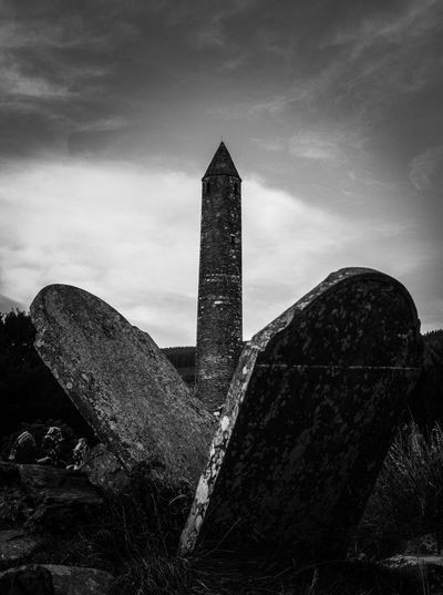 Spirituality Exploring Round Tower Perspective Glendalough Glendalough, Irland Blackandwhite History Sky Low Angle View Memorial No People Architecture Outdoors
