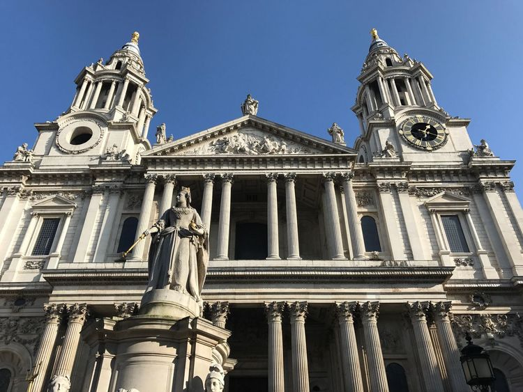 St Paul Architecture Low Angle View Statue Religion Building Exterior Built Structure Human Representation Sculpture Spirituality History Outdoors Architectural Column Place Of Worship Day Travel Destinations No People Sky Baroque Style