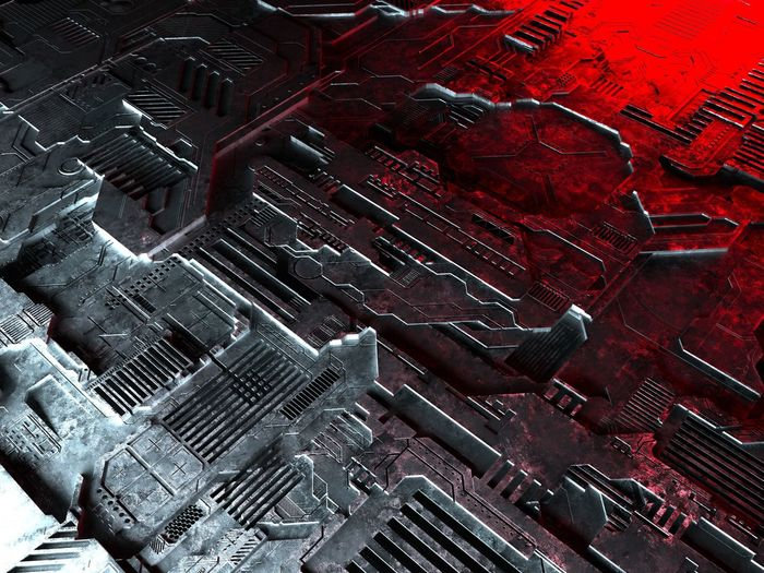 technology background 3D 3d Rendering Displacement Red Tech Background High Angle View Metal Pattern Rendering Technical Technological Technology