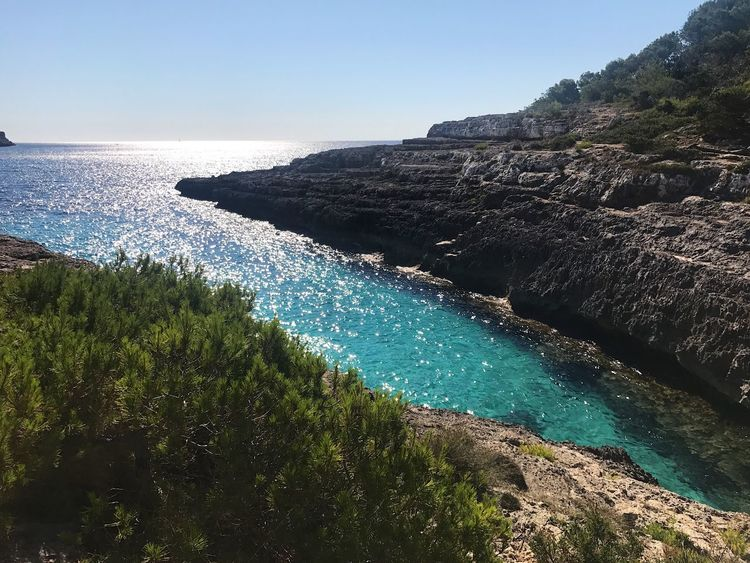 Sea Water Nature Beauty In Nature Scenics Tranquil Scene Rock - Object Clear Sky Tranquility Outdoors Sunlight No People Day Cliff Horizon Over Water Wave Mountain Sky Beach SPAIN Mallorca Traveling Beautiful Nature Blue