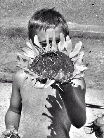 My Youngest Son Helping Mom Sunflower - The Inside Story #2 Sunflower Seeds NEM Black&white EE_Daily: Black And White Getting Inspired