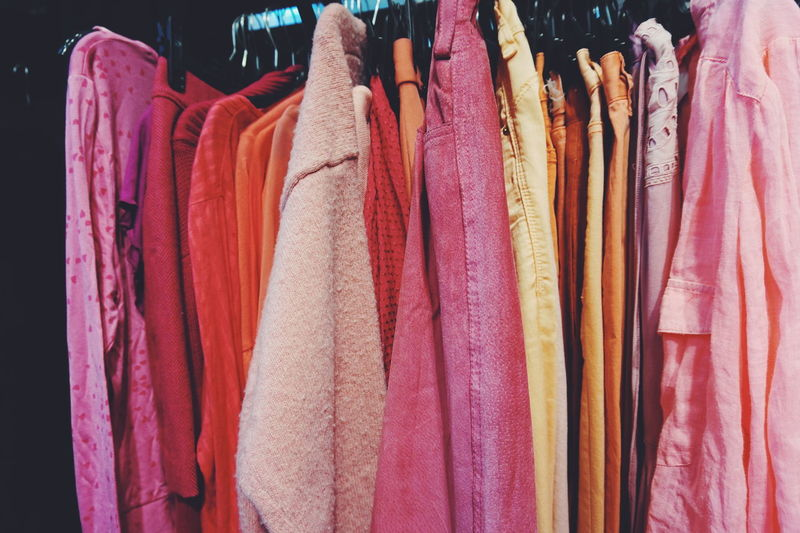 Pink cloths Arrangement Choice Clothes Clothes Rack Clothing Cloths Collection Colors Fabric Fashion Fashion Group Of Objects Hanging In A Row Large Group Of Objects Order Pink Pink Color Beautifully Organized Retail  Secondhand Shop Shopping Textile Variation