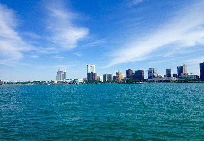 Taken in the summer time. City Detroit Development River Riverside Skyline Water Water Front  Waterfront