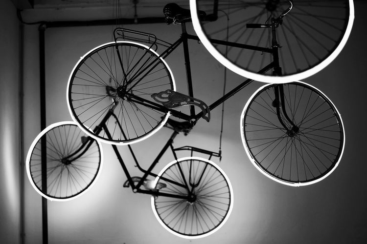 Brussels EyeEm Best Shots Hanging From The Ceiling Bicycle Bruges Close-up Day Indoors  Land Vehicle Mode Of Transport Neon Neon Lights No People Spoke Stationary Transportation Wheel The Still Life Photographer - 2018 EyeEm Awards The Architect - 2018 EyeEm Awards The Street Photographer - 2018 EyeEm Awards