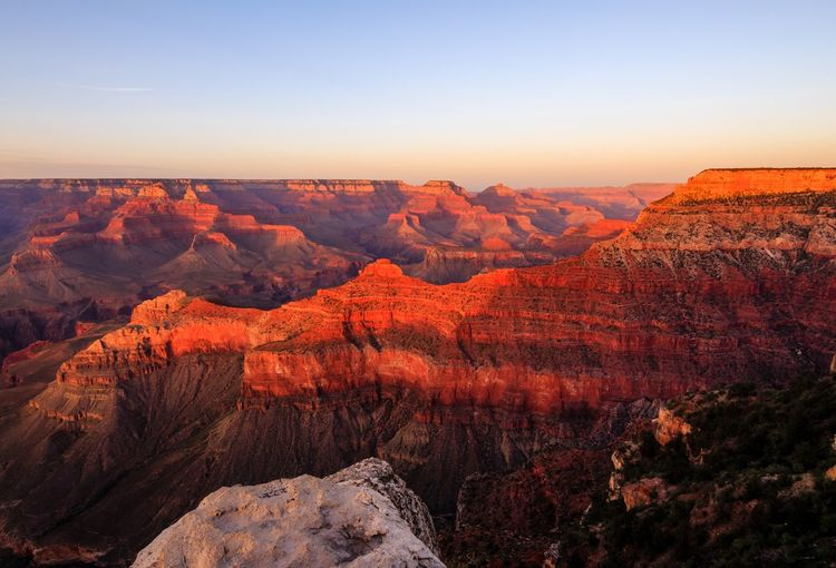 Grand Canyon, sunset, canyon Landscape Scenics Nature Outdoors High Angle View Mountain Sky Travel Sunset Travel Destinations No People Beauty In Nature Red Clear Sky Day Tree