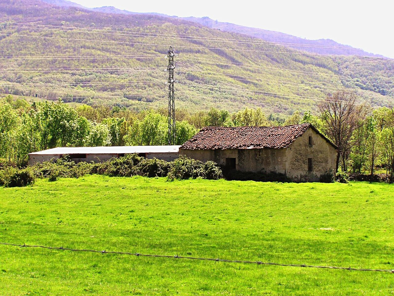 architecture, built structure, green color, no people, house, landscape, building exterior, mountain, grass, field, day, agriculture, outdoors, tranquil scene, scenics, tranquility, nature, beauty in nature, roof, tree