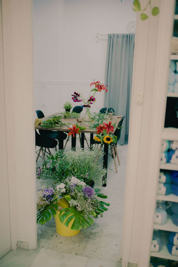 Flowers in vase on window sill