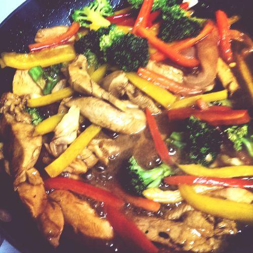 #latenight #munchies #foodporn #spicy #orange #ginger #chicken #organic #veggies #healthyeats #portlandia