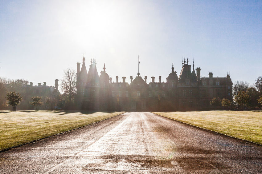 Waddesdon Manor on a misty morning. Architecture Misty Architecture Building Exterior Built Structure Château Clear Sky Day Misty Morning National Trust National Trust 🇬🇧 Nature No People Outdoors Rotheschild Sky Sunlight The Way Forward Travel Destinations Tree Waddesdon Waddesdon Manor