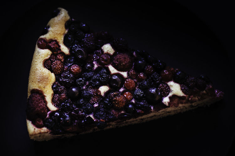 piece of berry cake Berries Berry Cake Black Background Cake Dark Food Photography Dessert Food Food And Drink Freshness Fruit No People Sweet Food Sweet Pie