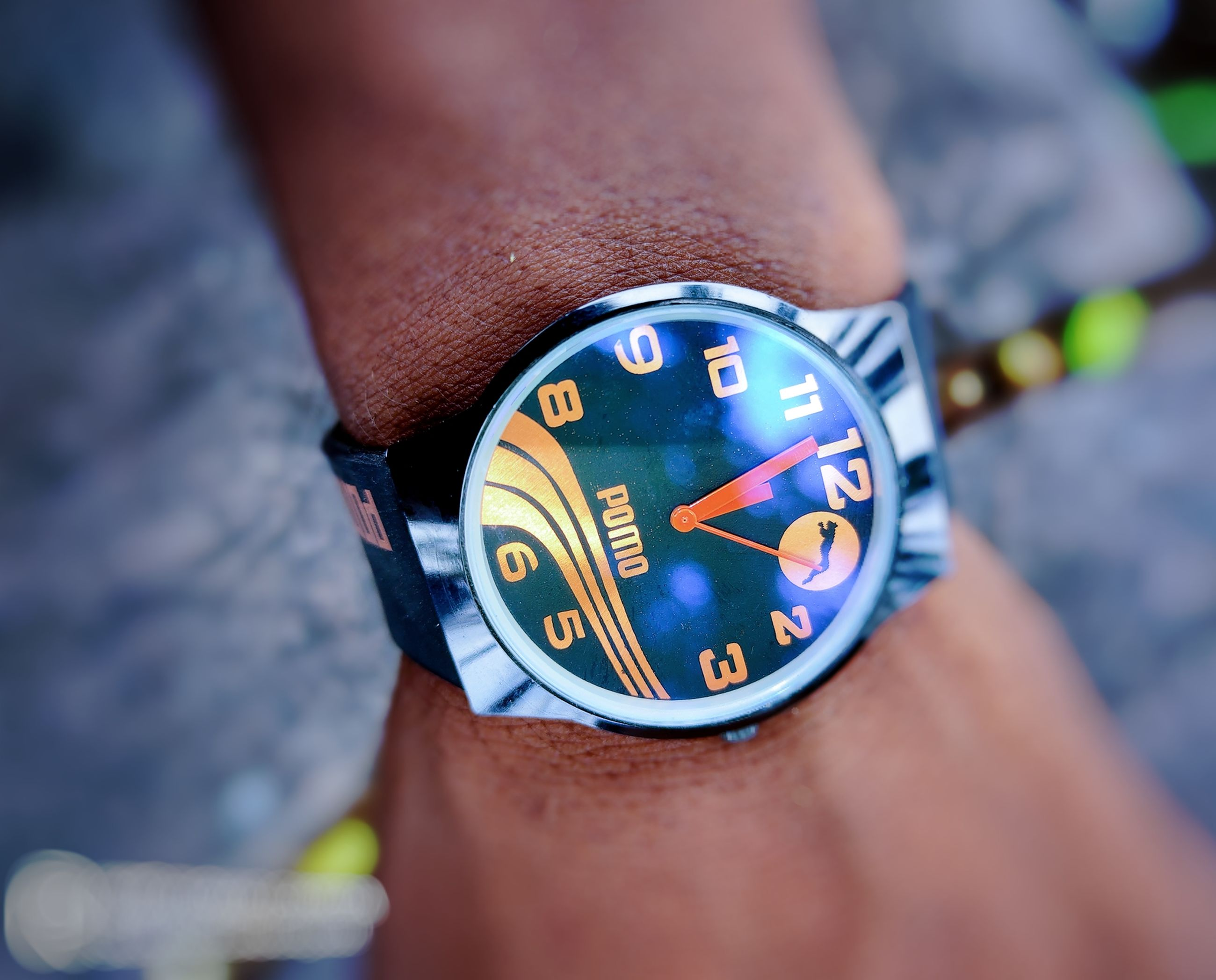 watch, blue, time, wristwatch, clock, close-up, one person, hand, adult, strap, human joint, yellow, instrument of time, accuracy, men, checking the time, lifestyles, day, outdoors