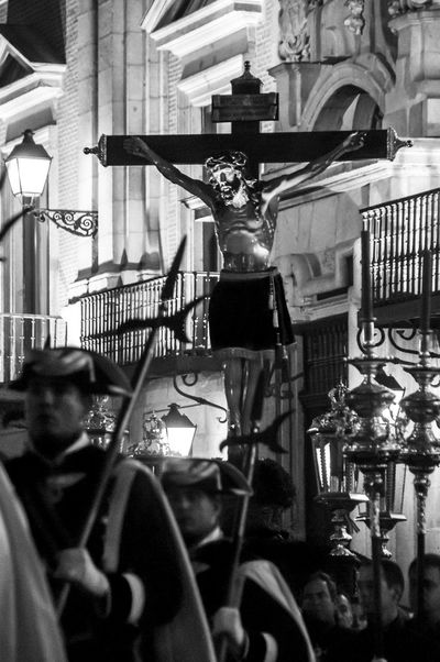 Easter in Madrid 2009: the procession of Cristo de los Alabarderos (Christ of the Halberdier) from the Royal Palace in Madrid. Architecture Blackandwhite Christ Christianity Dark Easter Editorial  Fraternity Good Friday Madrid Mood Outdoors Pagent People Procession Red Religious  Statue