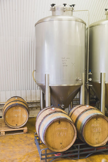 Beer Barrel Brewery Business Close-up Container Cylinder Day Domestic Room Drink Food Food And Drink Group Of Objects Household Equipment Indoors  Jar Metal No People Refreshment Still Life Table Winemaking Wood - Material