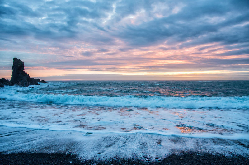 Ocean View in Iceland at Sunset Colours Iceland Landscape_Collection Natural Sunset_collection Tranquility Travel Traveling Beach Beachphotography Black Beach Dawn Destinations Dusk Iceland_collection Journey Landscape Landscape_photography Ocean Road Trip Sea Sunrise Sunset Travel Destinations Water