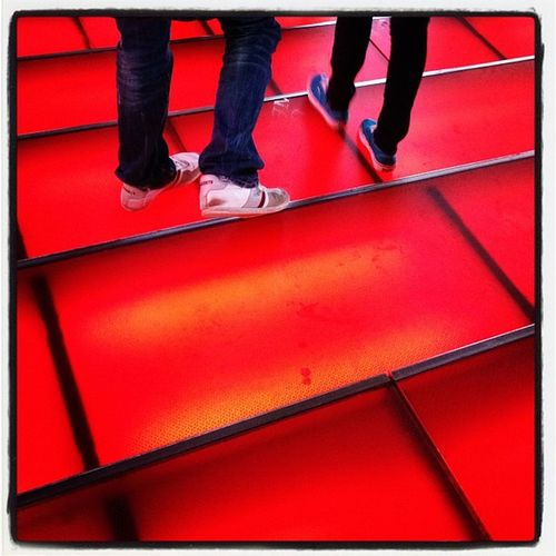 The red stairs of Times Square. #nyc #timessquare NYC Stairs Red Steps Manhattan Newyork Newyorkcity TimesSquare Ticketmaster Redstairs Times_square