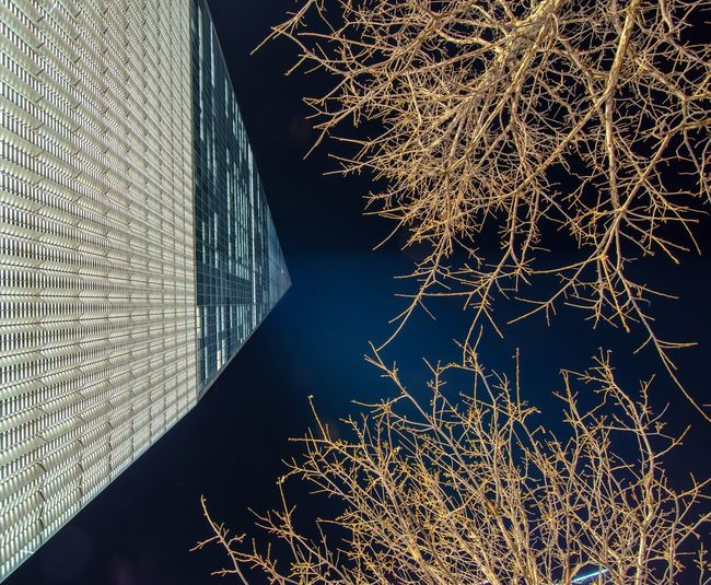 Close-up of illuminated building against sky at night