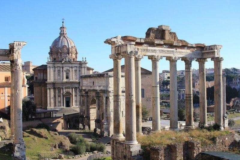 Italy Rome Fororomano World Heritage Remains Moving Around Rome