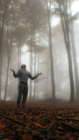 Nature Real People Leaf Fog Tree Autumn Day Standing Outdoors Forest Change Branch Art Is Everywhere Beauty In Nature Full Length One Person Break The Mold TCPM Tree Trunk Men