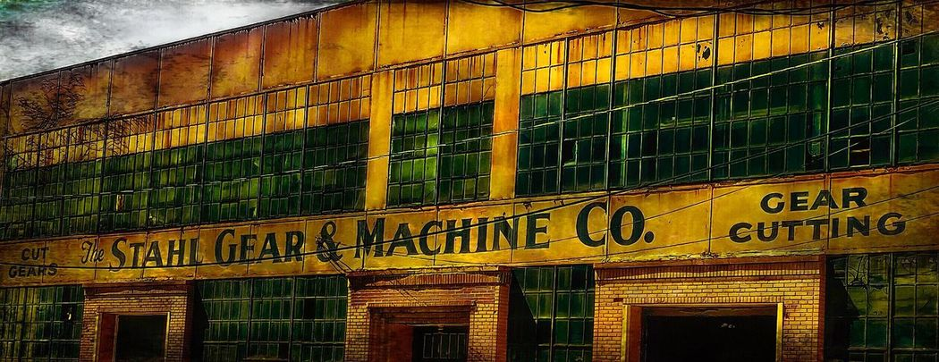 Cleveland Strong Architecture Built Structure No People Building Exterior Text Building Low Angle View Western Script Communication Wall - Building Feature Outdoors Pattern Day Backgrounds Window Wall Metal Sign Yellow