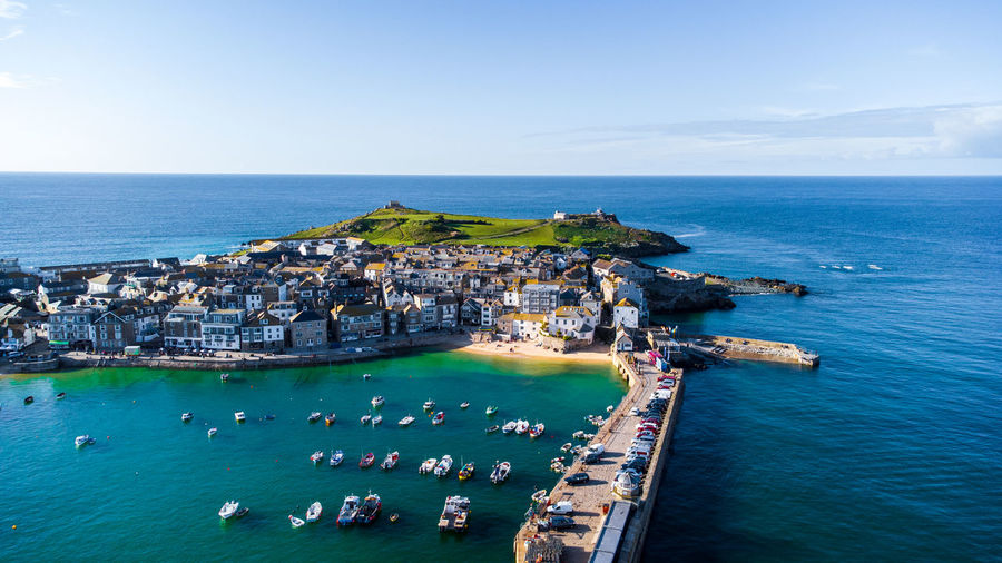 Looking down on a fishing village and harbour