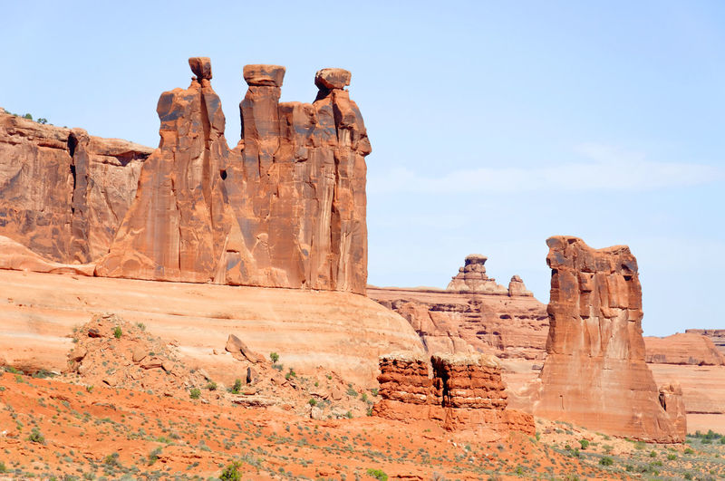 Low angle view of rock formations