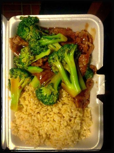 Chinese Food Dinner Beef & Broccoli Brown Rice