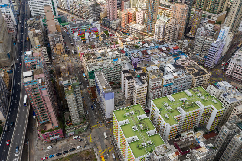 Hong Kong Building Architecture Street Skyscraper Top View Aerial Fly Drone  Over Above Down Top Down Bird Eye Hk Hong Kong Hong Kong City To Kwa Wan Kowloon Side District Shopping Center Plaza Tall Commercial Financial Busy China ASIA Apartment Traffic Cityscape Road Car Junction Business Skyline Urban High Transportation