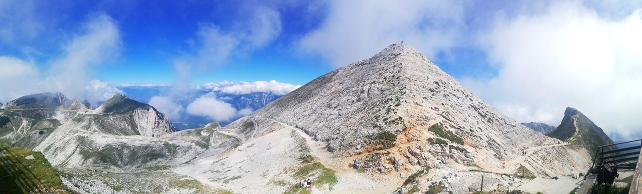 Low angle view of panoramic shot of mountain range against sky