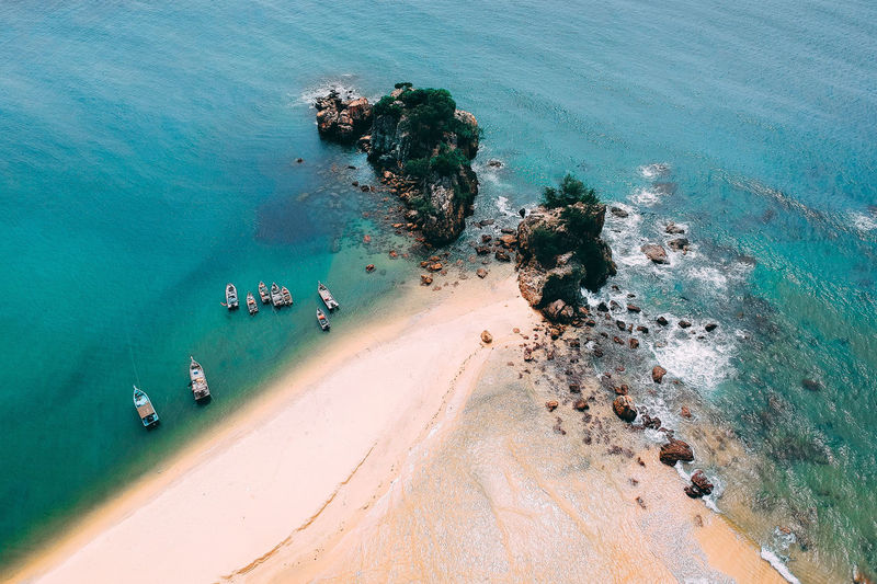High Angle View Of Beach During Sunny Day