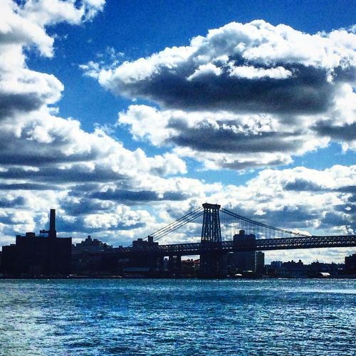 Water Sea Structure Outdoors Sky New York City East River City Light Bridge Reflection Water Reflections Blue