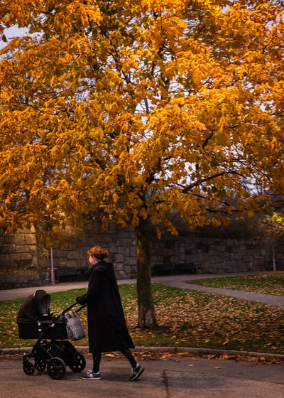 Full length of woman walking while pushing baby stroller in park during autumn