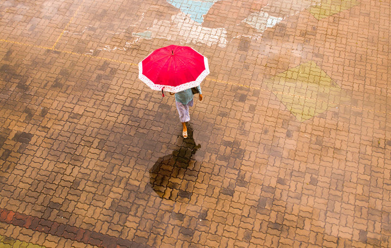 Brick Colour Day Foot Outdoors Rainy Days Red Steps Umbrella Walking Water Reflections Women