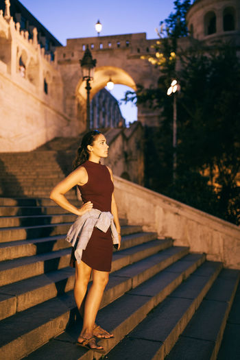 Summer nights Architecture Budapest Building Exterior Built Structure Castle Casual Clothing City Life Day EyeEm Best Shots Fashion Photography Focus On Foreground Full Length Leisure Activity Lifestyles Lights And Shadows Modeling Nightphotography Shadow Steps Sunset TeamCanon The Way Forward Young Adult Young Women People And Places