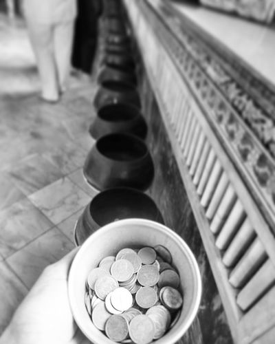 The 108 wishes coin pots. It was a great experience for me. I really enjoyed it. Coin Thailand🇹🇭 Thailandtravel ThailandOnly Thailand_allshots_BW Thailand Love Thailandtrip Blackandwhite Photography FirstEyeEmPic Thailand Photos Templephotography